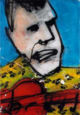 David the guitar man schilderen door Herman Brood