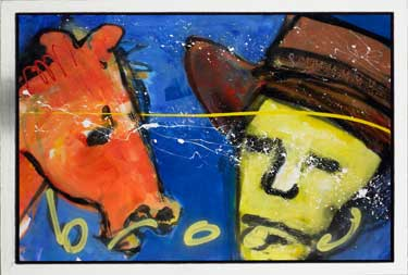 Man with horse painting by Herman Brood