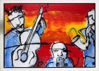 Orchestra (imitatie) schilderen door Herman Brood