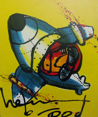 Plane on Yellow painting by Herman Brood