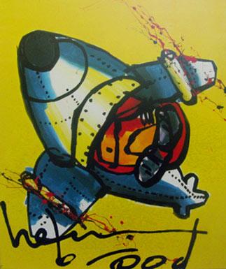 Plane on Yellow schilderen door Herman Brood