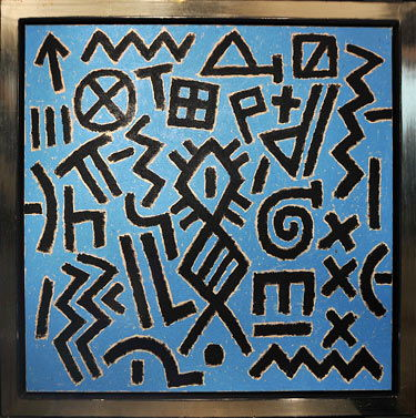 Signs in blue painting by Ferenc Gogos
