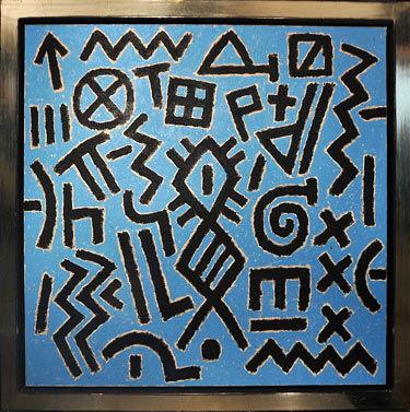 Signs in blue schilderen door Ferenc Gogos
