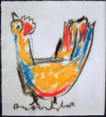 Chicken schilderen door Anton Heyboer