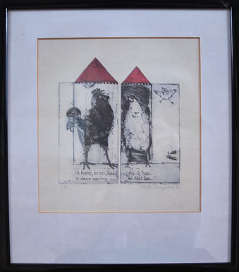 Ik haan II (1990) etching by Karin Campfens