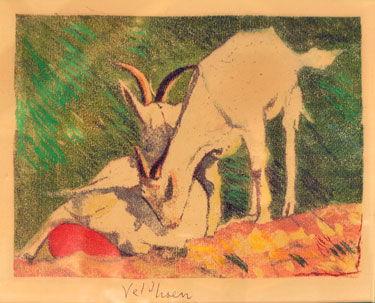 Goats painting by Aat Veldhoen